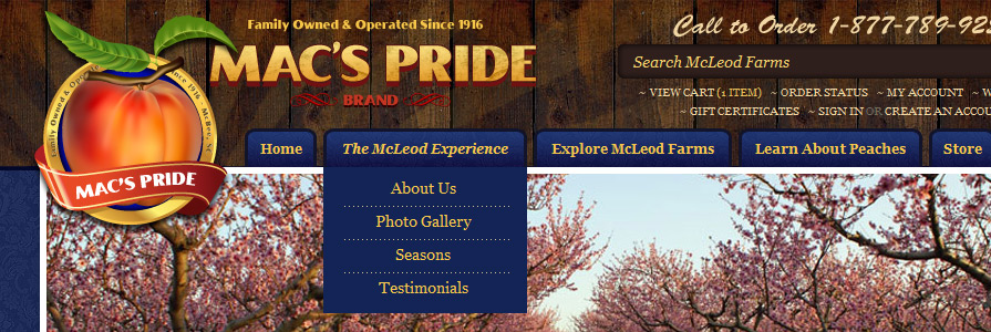 McLeod Farms Web Site Design and Shopping Cart