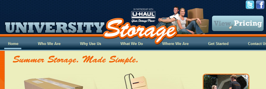 University Storage Web Site Design and Appointment Cart