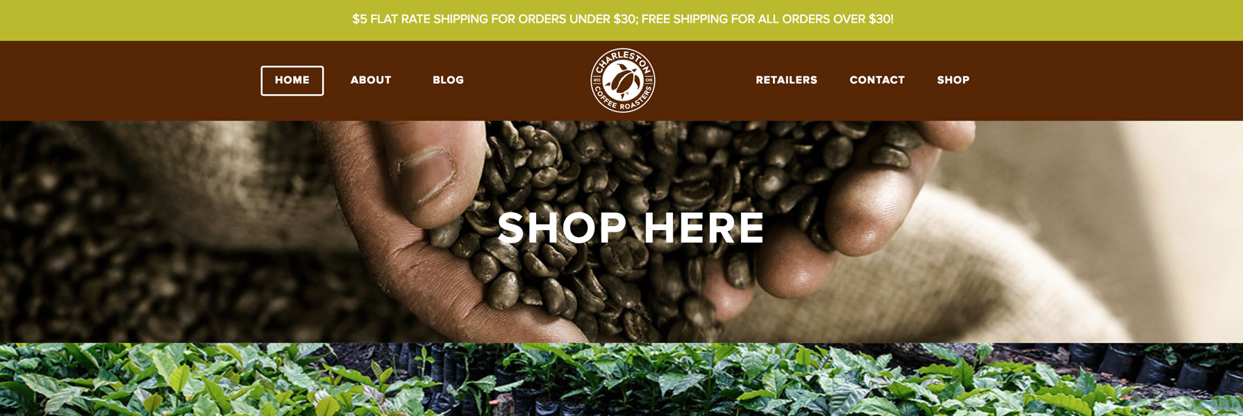 Charleston Coffee Roasters Online Store, Responsive Layout and Web Programming